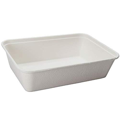 BIOZOYG Vaschette di Canna da Zucchero Piatti Bagassa Monouso Stoviglie Biodegradabili I Lunch Box Monouso Contenitori Alimentari Compostabili 500 ml I 125 Vaschette rettangolari 12x17 cm Bianco