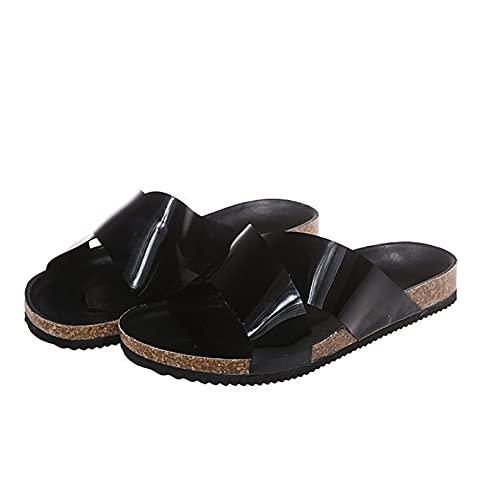Sandalias de plataforma de corcho para mujer con puntera abierta, correa cruzada, plataforma para playa, al aire libre, antideslizante, sandalias, Black, 41 EU