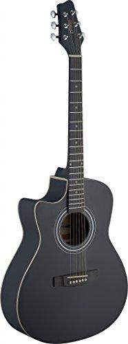 Stagg SA30ACE-BK Left-Handed Electro-Acoustic Auditorium Guitar with Linden Top - Matte Black