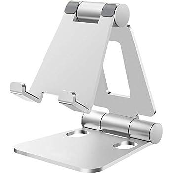 Nulaxy スマホスタンド 折り畳み式 ipadスタンド 270°角度調整可能 卓上横縦置き 充電可スタンド iPhoneスタンド 4-10インチ対応可 アルミ製 携帯式 A4(銀)