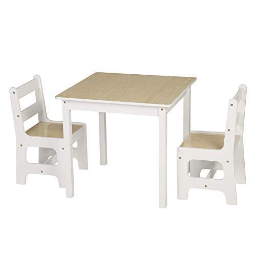 WOLTU SG005 Tavolo e Sedie per Bambini Soggiorno Tavolino con 2 Sgabelli Set Mobili in Legno