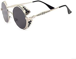 Retro Round Metal Frame Sunglasses Reflective Steampunk Sunglasses