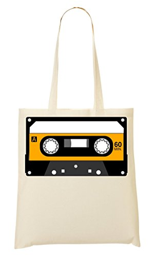 C+P Minimalistic Yellow Cassette Tape Graphic draagtas boodschappentas