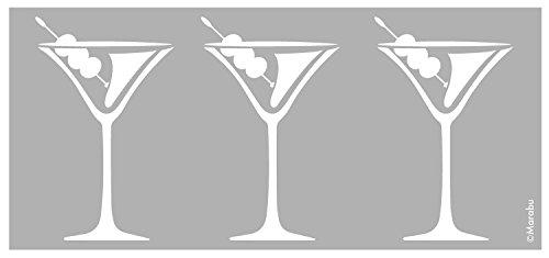 Marabu 0276000000076 - Schablone, lasergeschnittene, strapazierfähige Schablone, PVC frei, zur Anwendung auf Wänden, Möbeln und Textilien, wieder verwendbar, ca. 15 x 33 cm, Cocktail Glasses