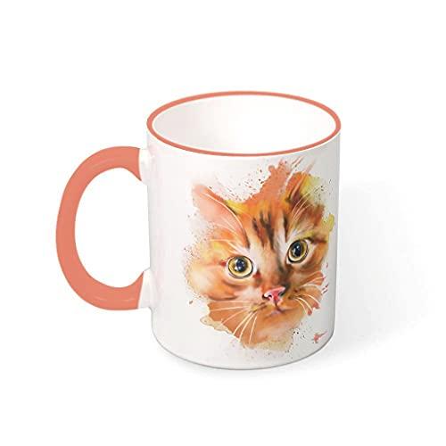 COMBON Shop Taza de café Tazas de cara de gato con mango porcelana Humor tazas caqui 330ml