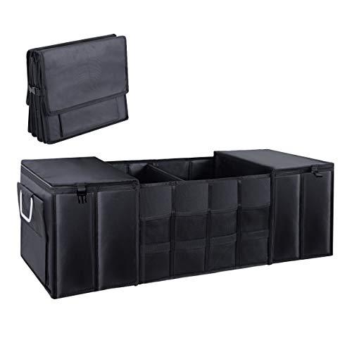 TeslaWorld Kofferraumstiefel Organizer, faltbarer faltbarer Stamm Aufbewahrungsbox Einkaufen Reise Halter Multi-Funktions-Schwarz-Koffer-Box