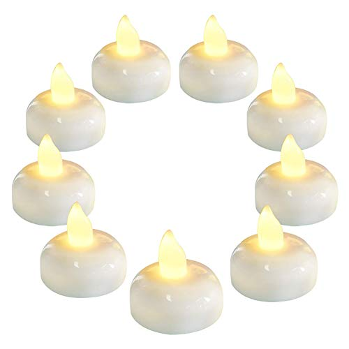 HEYOMART 12 Pack Waterproof Flameless Floating Tealights, Warm White Battery Flickering LED Tea Lights Candles - Wedding, Party, Centerpiece, Pool & SPA