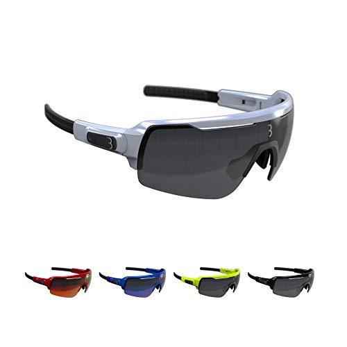 BBB Cycling Fahrradbrille Commander | Herren und Damen Sportbrille Sonnenbrille Radsport | mit DREI Wechselgläsern | Polycarbonat | MTB Rennrad Urban | Glänzend Weiß | BSG-61