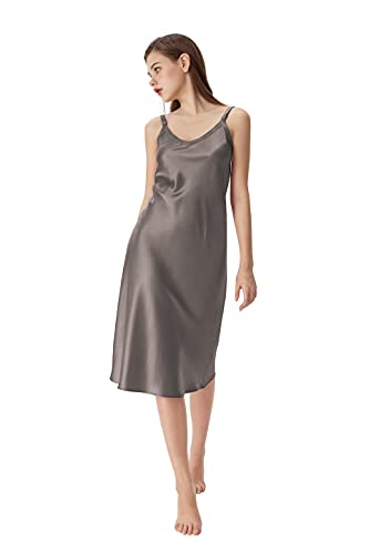 Sericum Silk Nightgown for Women Pure Natural 100% Mulberry Silk Nightdress for All Occasions Silk V Neck Nightgown Dark Gray