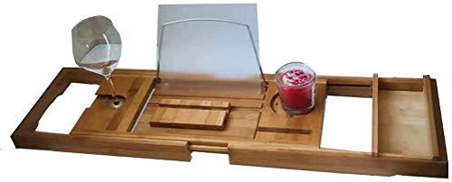 lqgpsx Ripiano per Bagno Ripiano per Bagno - Ripiano per Vasca - Ripiano per Mobili - Legno di bambù qualità -75-109 * 23 * 4.5 CM - per Separatore Vasca da Bagno
