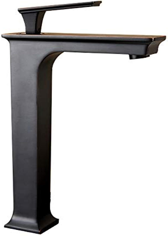 LIUSHUI Schwarz Amerikanischen Retro Wasserhahn Bad Einfache Kupfer Einhand Einlochmontage Badezimmer Antike Wasserhahn Alten Wasserhahn mit 2 60 cm Schlauch (Design   B2)