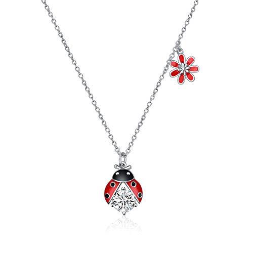 YFN Sterling Silber Marienkäfer Halskette Blume Zirkonia Anhänger Halskette Schmuck Geschenke für Frauen Mädchen (Marienkäfer Halskette)