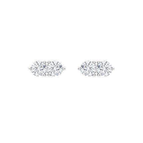 Pendientes de tuerca de diamante de 1/4 CT con 2 piedras (calidad AAA), parte trasera de rosca, Metal, Diamond,