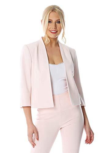 Roman Originals Damen figurbetonte Jacke mit 3/4-Ärmeln - Damen Bekleidung mit rundem Ausschnitt für Büro, Arbeit, Vorstellungsgespräche, als Mutter der Braut - Light Pink - Größe 48