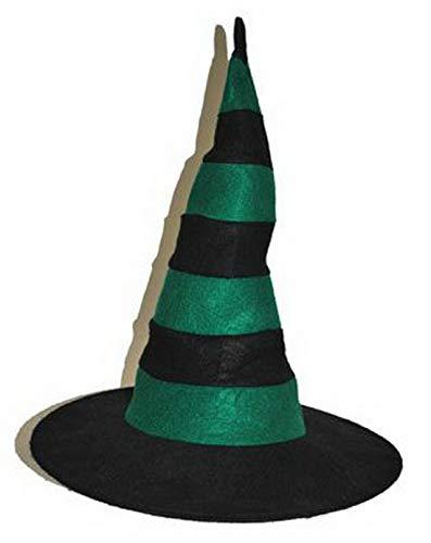 Karnevalsbud - Kostüm Accessoires Zubehör Spitzer Hexen-Hut Zauberin Magierin mit Schwarzen Streifen, Whitch Hat, perfekt für Halloween Karneval und Fasching, Grün