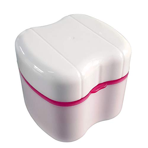 Gus Craft Denture Box with Specially Designed Holder for Rinse Basket, Great for Dental Care, Easy to Open, Store and Retrieve (Carnation Pink)