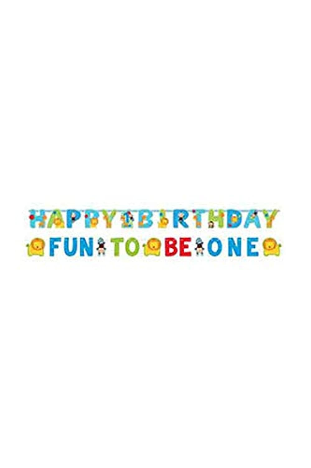 amscan One Wild Boy Birthday Party Jumbo Letter Banner Kit Decoration, Multi Colored, Paper, Assorted Sizes, 8-Piece