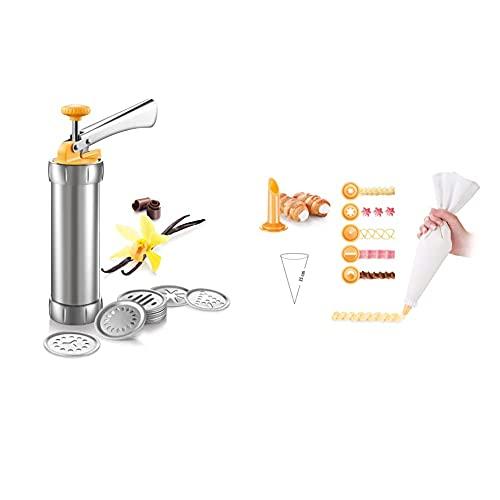 Tescoma 630535 Pistola Sparabiscotti/Decoratore per Torte, Metallo Delicia & 630487 Delicia sac a Poche con 6 Beccucci Decoratori