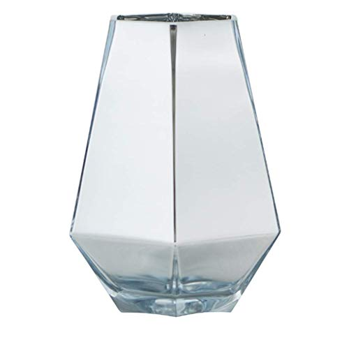 Vase Grave Good Decorative Role Decoration Styles Exquisite Shape Birthday Gifts Various Sizes Wedding Holiday Glass for flowers (Color : Silver, Size : 15×21cm)