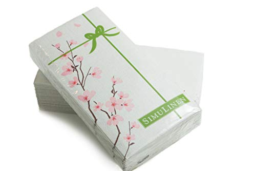 SimuLinen Guest Towels for Bathroom – Cherry Blossoms - Disposable Paper Towels - Pack of 25 - Perfect Size: 12x17 inches Unfolded & 8.5x4 inches Folded