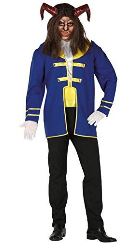 Guirca- Costume Principe Adam Bestia Disney Uomo, Colore Blu,Nero e Giallo, L, 88585