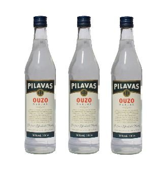 3x Ouzo Nektar Pilavas 38%-Vol. 3 Flaschen a 700 ml Set Griechenland + 2 Probier Sachets Olivenöl aus Kreta a 10 ml