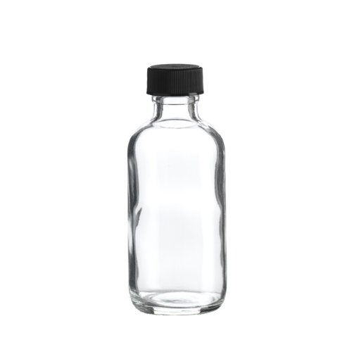 Premium Vials B26-12 Boston Round Glass Bottle with Cap, 2 oz Capacity, Clear (Pack of 12)