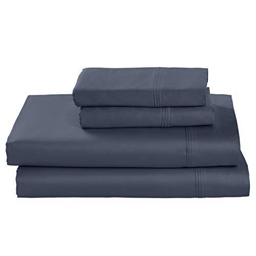 Amazon Brand – Stone & Beam HygroCotton Sateen Bed Sheet Set, Easy Care, Queen, White