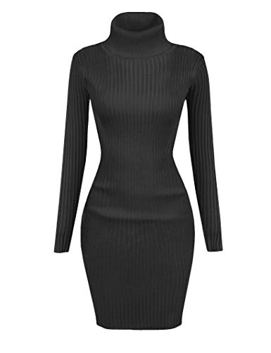 v28 Women Stretchable Turtleneck Knit Long Sleeve Slim Fit Sweater (Medium, Udress Darkgrey)