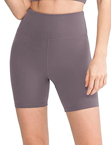 ELF KUCKUCK Kurze Sporthose Damen, Radlerhose Damen Kurz Laufhose Sport Shorts, Rötlich Lila, 6 (38)