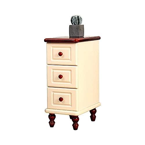BBZZ Mesita de noche estrecha de 25 cm, mesa auxiliar de almacenamiento de madera maciza con 3 cajones