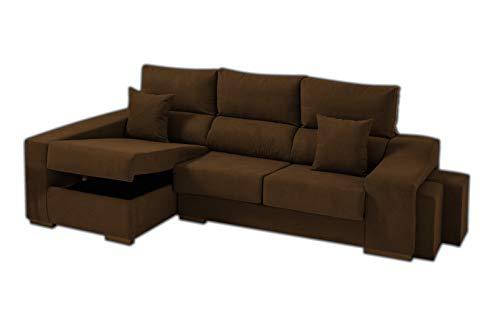 Sofa Cheap Chaise Longue Izquierdo 5 Plazas | Arcón Abatible + 2 Puffs | Respaldos Reclinables Ergonómicos | Marron Chocolate (Envío y Subida a Domicilio Incluidos)