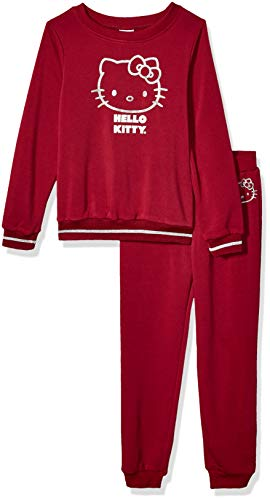 Hello Kitty Big Girls 2-teiliges Sweatshirt und Hose, Burgunderrot, 7