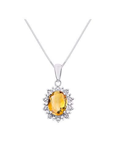 RYLOS Necklaces for Women 14K White Gold Princess Diana Inspired Necklace Gemstone & Genuine Diamonds Pendant 18' Chain 9X7MM Citrine November Birthstone Womens Jewelry Gold Necklaces For Women