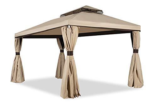 Garden Point Garten-Pavillon Valencia mit Moskitonetz | 300 x 600 cm | Rechteckig | Wasserabweisend | Ideal für Garten | Einfache Montage | Vorhänge im Set | Cremig