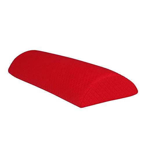 Cojín de espuma viscoelástica de media luna para la cama, cuello trasero, pierna, rodilla, almohada, soporte con funda lavable, rojo, grande