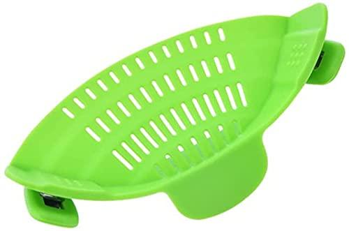 Zhuidream Bafle de filtrado de lavado de arroz, de silicona con clip para estofado, material de grado alimenticio, resistente al calor para drenar pastas, verduras frutas arroz etc. (verde)