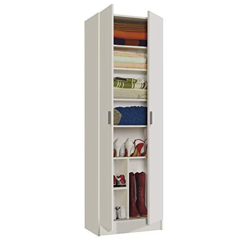 Habitdesign Armario Zapatero Multiusos, Armario Auxiliar, Acabado en Color Blanco, Medidas: 59 cm (Ancho) x 180 cm (Alto) x 37 cm (Fondo)