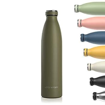 Lars NYSØM Gourde INOX 1000ml | 1L Bouteille d?eau isolée sans BPA | Gourde étanche pour Le Sport, la Bicyclette, Les Enfants