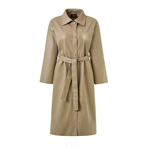 DANWJDP lederen jas voor vrouwen, dames imitatieleer lange jas lente herfst Khaki mode losse riem Pu lederen windbreaker klassieke slanke trent bovenkleding