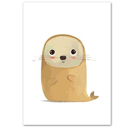Dibujos animados Baby Seal pared arte lienzo pintura carteles e impresiones animales cuadros de pared habitación de niños decoración del hogar-20x28 pulgadassin marco