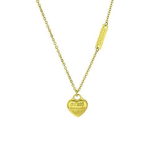 Guess - Edelstahlkette, vergoldet, Anhänger, Herz, Logo - für Damen - Gold