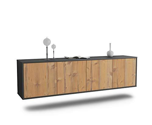 Dekati Lowboard Anaheim hängend (180x49x35cm) Korpus anthrazit matt | Front Holz-Design Pinie | Push-to-Open