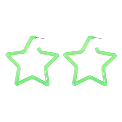 XIALIMY Pendientes para Joyería Fashion Acrylic Star Hoop Pendiente para Las Mujeres New Bohemian Beadh Círculo Redondo Transparente Geométrico Declaración Pendiente Joyería (Metal Color : Green)
