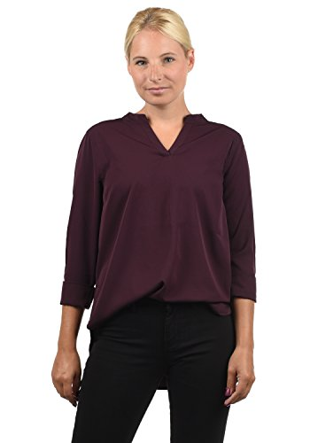 BlendShe Amore Damen Tunika Bluse 3/4-Arm Mit Rundhals-Ausschnitt Und Spitze, Größe:L, Farbe:Winetasting (20252)