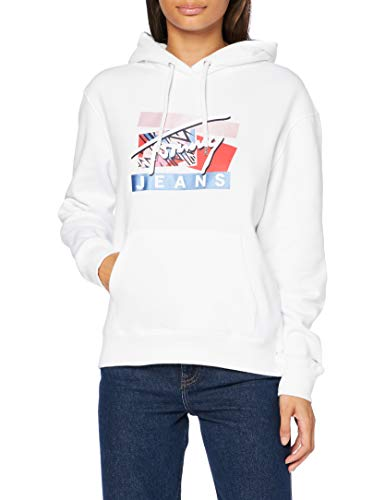 Tommy Hilfiger Tjw Modern Logo Hoodie Suéter, White, L para Mujer