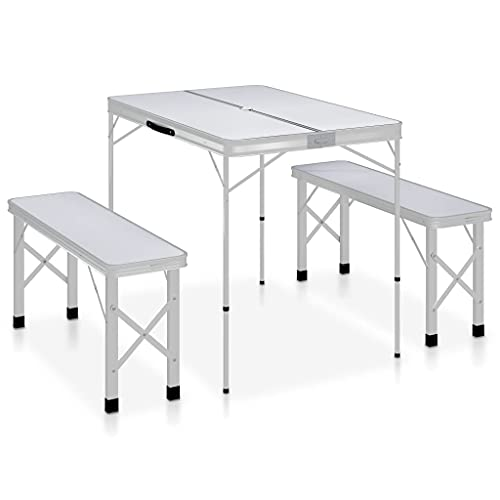 LONGMHKO Mesa de Camping Plegable con 2 Bancos Aluminio Blanco Dimensiones de la Mesa: 90 x 60 x 70 cm