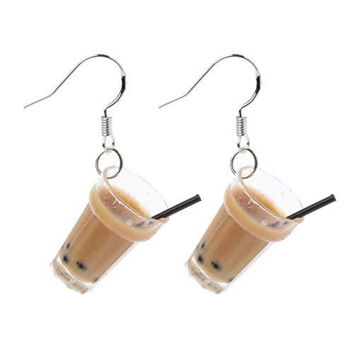 Evazory - Pendientes de resina con perla de té con leche y bebidas