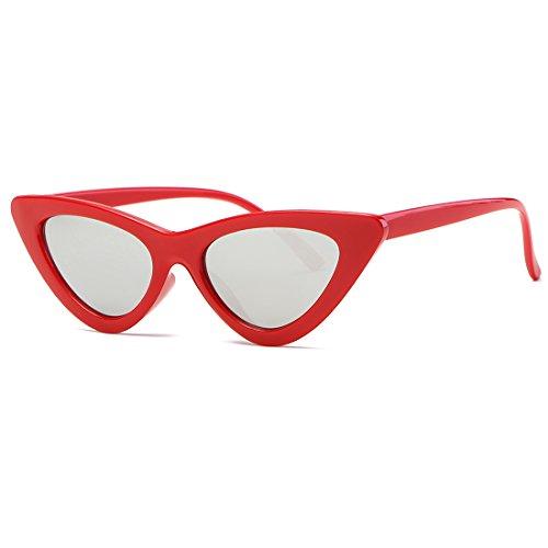 kimorn Ojos De Gato Gafas De Sol Para Mujer Clout Goggles Bisagras De Metal Plástico Marco K0566 (Rojo&Plata)