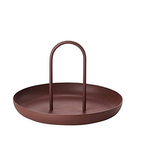 Bandeja decorativa para sala de estar, cocina, mesa de comida, bandeja con asa, bandejas de almacenamiento para decoración del hogar (tamaño: como se muestra en la imagen; color: marrón)